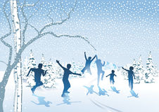 Happy children in the snow Stock Photo
