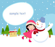 Happy children and snowman Royalty Free Stock Images