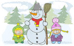 Happy children and snowman Royalty Free Stock Image