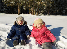 Happy children in solar winter day Royalty Free Stock Photos