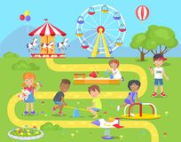 Happy Children Spend Spare Time at Playground. Children spend spare time at playground with metal seesaw, merry-go-round with horses, wooden sandbox and big Royalty Free Stock Images
