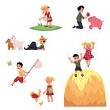 Happy children spend summer vacation in farm. Children spend summer vacation in farm - feeding animals, picking flowers, having fun, cartoon vector illustration Stock Image