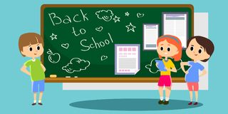 Happy children stand by the school newspaper hanging on the blackboard, kins with papers reading news, fun student Royalty Free Stock Image