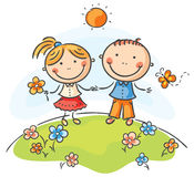 Happy children. On a summer day Stock Photos