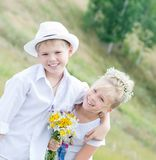 Happy children in summer park royalty free stock images