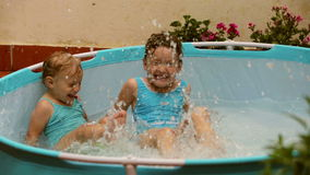 Happy children swimming  in pool. Happy children swimming in kid  pool stock footage