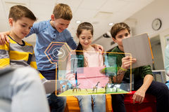 Happy children with tablet pc and virtual animals Royalty Free Stock Photo