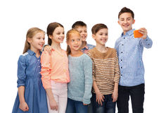 Happy children talking selfie by smartphone Royalty Free Stock Photography
