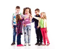 Children with raised hands royalty free stock photo