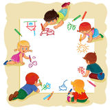 Happy children together draw on a large sheet of paper. Illustration of happy children draw on a large sheet of paper, top view Stock Image