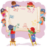 Happy children together draw on a large sheet of paper. Vector illustration of happy children draw on a large sheet of paper, side view Royalty Free Stock Images