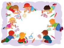 Happy children together draw on a large sheet of paper. Vector illustration of happy children draw on a large sheet of paper, top view Stock Photo