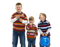 Happy children with toy balloon royalty free stock photo