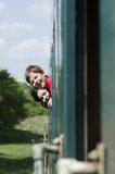 Happy children on the train Royalty Free Stock Image