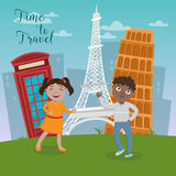 Happy Children on Travel Vacations. Stock Photography