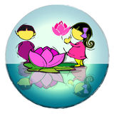 Circle Mandala with Lotus Flower, Cartoon for Baby Children-Asian Stock Photography