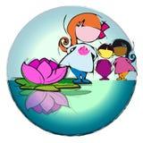 Circle Mandala with Lotus Flower, Cartoon for Baby Children-Diversity Stock Photo