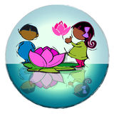 Circle Mandala with  Lotus Flower, Cartoon for Baby Children-Diversity Royalty Free Stock Photo