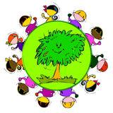 Earth and Green Tree, Cartoon for Baby Children-Diversity Royalty Free Stock Photos
