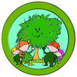 Green Tree, Cartoon for Baby Children-. Happy green: children with tree Royalty Free Stock Photos
