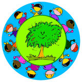 Green Tree, Cartoon for Baby Children-Diversity Royalty Free Stock Image