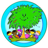Green Tree, Cartoon for Baby Children-Diversity Royalty Free Stock Photography