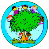Happy children with tree Stock Photography