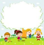Happy children and tree. Illustration of happy children and tree royalty free illustration