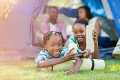 Happy children using tehcnology Royalty Free Stock Image