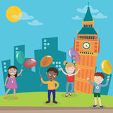 Happy Children on Vacation in London. Vector Royalty Free Stock Photography