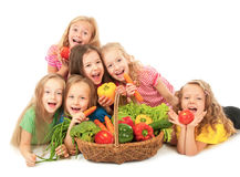 Happy children with vegetables Stock Photo