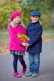 Children walking in beautiful autumn park on warm sunny fall day. Happy children walking in beautiful autumn park on warm sunny fall day Stock Image