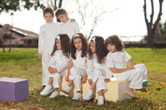 Happy children in white Royalty Free Stock Photo