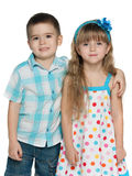 Happy children on the white background royalty free stock photo