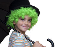 Happy children. With wig and umbrella Stock Photos