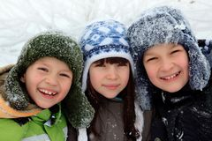 Happy children in winter Royalty Free Stock Photography