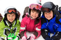 Happy children in winter royalty free stock image