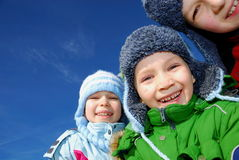 Happy children in winter Stock Photo