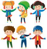 Happy children in winter clothes. Illustration Royalty Free Stock Photography