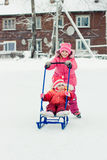 Happy children in winter outdoors Stock Photo