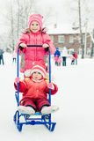 Happy children in winter outdoors Royalty Free Stock Photos