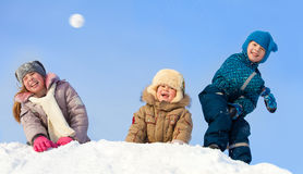 Happy children in winter park Royalty Free Stock Image