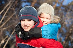 Happy children in winterwear Royalty Free Stock Images