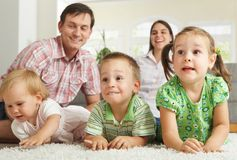 Happy Children With Parents Stock Image