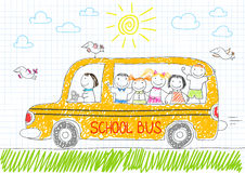 Happy children in yellow school bus Stock Photography