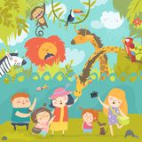 Happy children in zoo with wild african animals. Vector illustration Stock Images