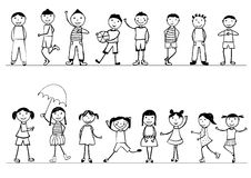 Happy childrens. Black and white hand drawn royalty free illustration