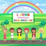 Happy Childrens Day Poster with Kids in Park. Happy childrens day colorful vector poster of happy kids with raised hands standing on road near green territory Royalty Free Stock Photos