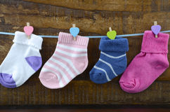 Happy Childrens Day concept with childrens socks Royalty Free Stock Images