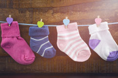 Happy Childrens Day concept with childrens socks Stock Images